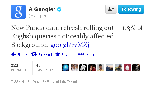 Google Announcing on Twitter ~  New Panda #23 Update