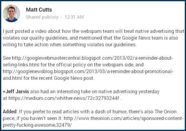 Matt Cutts On Advertorials & Webmaster Guidelines